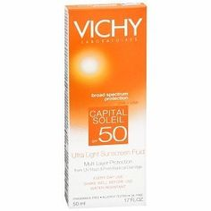 Vichy Laboratoires Capital Soleil SPF 50 Ultra Light Sunscreen Fluid, 1.7 oz by VICHY. $12.25. Description: Broad Spectrum Protection ~ UVB+UVA Multi Layer Protection from UV Rays & Free Radical Damage Every Day Use for Face & Body  Suitable for Sensitive Skin Water & Perspiration Resistant Aminobenzoic Acid -Free Fragrance-Free Allergy-Tested Non-Greasy & Oil-Free Dermatologist Tested Unprotected exposure to the sun can lead to UV-induced skin damage.  UVB ra...