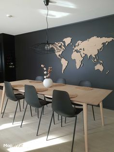 MapaWall   Luxury lasercut wooden world map European Oak Rift