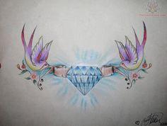 An idea for finishing off my chest piece Diamond Tattoo Designs, Diamond Tattoos, Heart Tattoo Designs, Swallow Bird Tattoos, Create A Tattoo, Cute Tats, Sternum Tattoos, Tattos, Chest Piece
