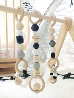 Silicone and Wood Modern Play Gym-Monochrome