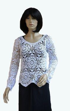 Crocheted sweater blouse bolero made to order crochet by dosiak, $80.00