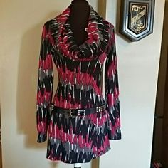 MISS SIXTY FABULOUS DRESS GORGEOUS MULTI COLOR GRAPHIC 100% COTTON.  RED,  GRAY AND BLACK PATTERN.  LOVELY SCOOP NECK. FORM FITTING HIP HUGGING.  SO COMFORTABLE AND SEXY!  WEAR WITH LEGGINGS AND SHORT BOOTS!!  Only wore once.  # Belt not included # Miss Sixty Dresses Long Sleeve