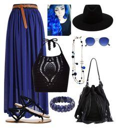 """Black And blue"" by keila-87 on Polyvore featuring moda, Loeffler Randall, Sole Society, New Look, rag & bone, Chanel e NOVICA"