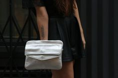 A close up of the .Kate Lee COLYNE style in silver ! #katelee #bag