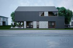 Návrh domu MAC - NED ATELIER Minimalist Architecture, Roof Architecture, Contemporary Architecture, Minimalist Apartment, Roof Design, Prefab Homes, Modern Buildings, Future House, Building A House