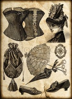 Stock image of 'Vintage fashion accessories for victorian lady: corsage, shoes, bag, umbrella, jewelry, hat'
