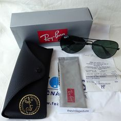 RAY BAN Sun Glasses AVIATOR POLARIZED Green Black Lens RB3025 002/58 58mm NEW in Clothes, Shoes & Accessories, Men's Accessories, Sunglasses & Eyewear | eBay