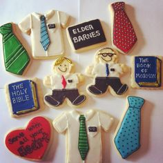 Cookies are the best gift for an LDS missionary! Weather it be for opening a call, in the MTC, homecoming, farewell, etc. These cookies ar. Mission Farewell, Lds Mission, Missionary Care Packages, Missionary Gifts, Baptism Cookies, Christmas Jesus, Client Gifts, Cookie Designs, Perfect Party