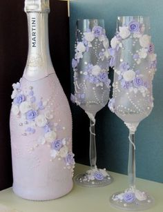 Custom made wedding toasting flutes decorated with polymer clay roses, swarovski rhinestones and crystal pearls. You are very welcome to order pair of decorated glasses in any colors you may wish. International shipping by a courier company is available to any country. Price per 2 glasses is 65$. Delivery costs approx. 45$. Total price: 110$. Delivery time: 3-6 business days. I need 5 working days to complete the custom order. Payment via PayPal. Contact via e-mail…