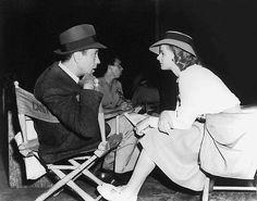 Medium behind-the-scenes shot of Humphrey Bogart as Rick Blaine and Ingrid Bergman as Ilsa Lund in Casablanca 1942.