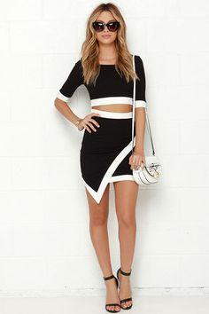 Two-Piece Dress - Ivory and Black Dress - Bodycon Dress - $49.00