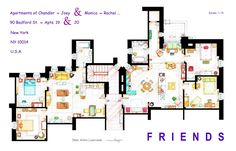 "FRIENDS Apartment's Floorplans - Version 2 . This handmade floorplan represents the apartments of Monica-Rachel and Chandler-Joey from the TV show ""FRIENDS"". Is an original hand drawed plan, in scale, coloured with colour pens and with full details..."