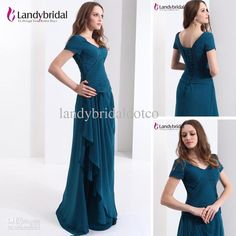 Wholesale 2013 V Neck Prom Gown Chiffon Short Sleeves Evening Dress Long Bridesmaid Dress Custom New bmls0007, Free shipping, $125.0/Piece | DHgate