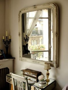Vintage Mirror with Mirrored Vanity for a touch of Glam. Idea for Master Bedroom.