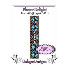 Bead Pattern PeyoteBracelet CuffFlower by FUNPATTERNDESIGNS