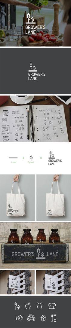 Logo Design Grocery Store Gourmet Fresh Food    fruit & veg, store, fresh, organic, farm, local, geometric, shape, line art, modern, minimalist, mark, monogram, inspiration     Valhalla Creative Design, Perth