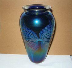 Superlative IRIDESCENT Signed ART Glass VASE Dark BLUE Purple TEAL Designs 1980s