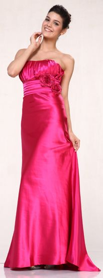 Fuchsia Strapless Pleated Bodice Straight Neckline High Waist Long Formal Prom Dress(7 Colors-XS to 3XL)