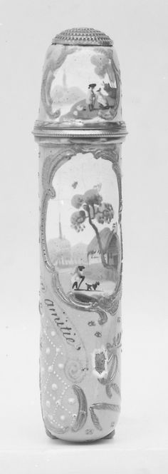 Scent Bottle and Holder  Date: ca. 1760–1800 Culture: English (Staffordshire) Medium: Enameled copper