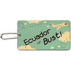 Ecuador or Bust Flying Airplane Wood ID Tag Luggage Card for Suitcase or Carry-On, Multicolor