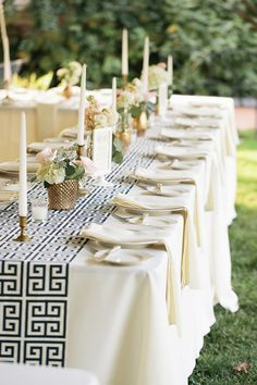 Elegant New Castle wedding shower table with Greek Key Pattern Table Runner. Photo by Hudson Nichols Photography Reception Decorations, Event Decor, Table Decorations, Greek Party Decorations, Wedding Table, Wedding Reception, Greek Wedding Theme, Budget Wedding, Greek Dinners
