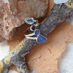 Tansanit Druse, Iolith & Blautopas, Ring, Ø 18,0 mm, 925 Sterling Silber in Uhren & Schmuck, Echtschmuck, Ringe | eBay