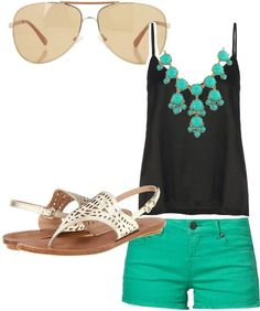I love the colored shorts and the simple black tank. The necklace is really pretty too (I'd wear this in a heartbeat)
