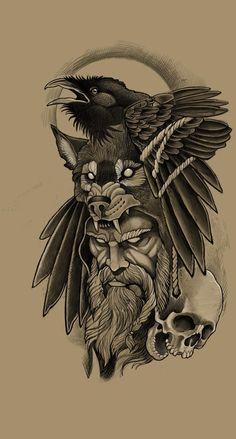 Sketch Tattoo Design, Wolf Tattoo Design, Viking Tattoo Design, Tattoo Sleeve Designs, Tattoo Designs Men, Sleeve Tattoos, Viking Tattoo Sleeve, Norse Tattoo, Owl Tattoo Drawings