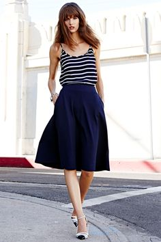 midi skirts #darkblue #stripes