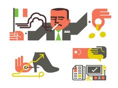 A few new icons for Monocle.   Those Italians with their smoking and nonchalant spending...