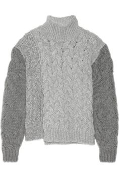 STELLA MCCARTNEY Mélange Cable-Knit Wool-Blend Turtleneck Sweater. #stellamccartney #cloth #knitwear
