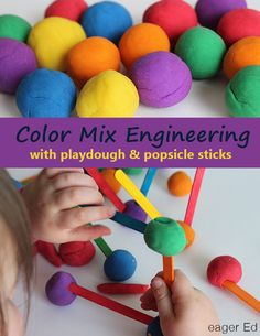 C is for Color Mix Engineering   Color theory, building and art with playdough and popsicle sticks. So fun!   eager Ed