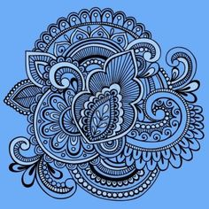 Hand-Drawn Intricate Henna Tattoo Paisley Abstract Doodle Illustration on Blue Background Stock Photo