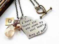 Song Of Solomon.  I Have Found The One Whom My Soul Loves.  Hand Stamped Personalized Heart Necklace.