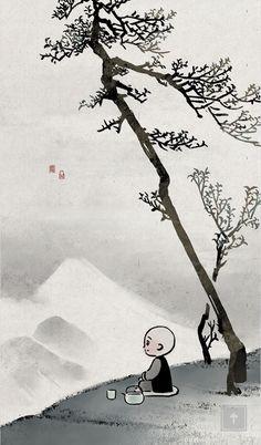 Little Monk Illustration Buddha Doodle, Buddha Art, Chinese Painting, Chinese Art, Spiritual Pictures, Samurai Artwork, Little Buddha, Buddha Buddhism, Social Art