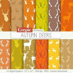 """Deer digital paper: """"AUTUMN DEERS"""" with woodland deers patterns, antlers, forest, reindeer, holidays, christmas, fall colors, orange, brown #etsy #grepic"""