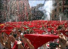 San Fermin Festiva, Pamplona, Spain: July    There are many events including folkloric ones, but the most famous is the running of the bull.