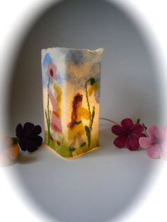 Table Lamp cover  Flower children  Wet Felted by FilzArts