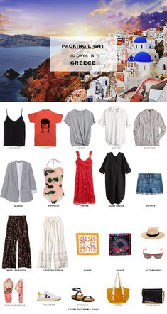 What to Pack for Greece - Packing Light, Beach Outfits, Do you need help with what to pack for Greece? I have a Greece packing list to help you on your way. Head over to my post for what to pack and outfit. Packing List For Vacation, Vacation Outfits, Vacation Trips, Vacation Travel, Beach Vacations, What To Pack For Vacation, Vacation Wardrobe, Travel Wardrobe Summer, Beach Holiday Packing