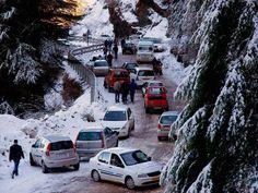 Vehices move slowly on a snow covered road at Kufri near Shimla.