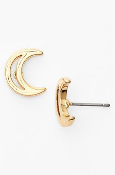Crescent Moon Stud Earrings
