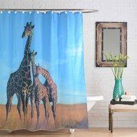 New Big Cool Giraffe Print Waterproof Polyester Fabric Shower Curtain