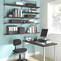 office desk shelving. Brilliant Shelving Driftwood U0026 Platinum Elfa WallMounted Desk  Alcove Organizing And Small  Office To Office Shelving