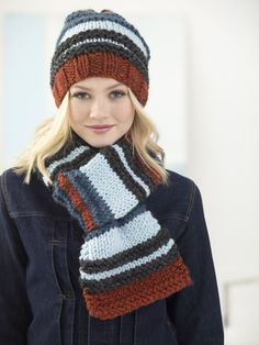 Campus Stroll Hat And Scarf (Knit) - Patterns - Lion Brand Yarn