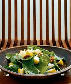 Spinach, Apple, and Walnut Salad - just made this tonight, and it is delicious! Lovely for a summer salad.