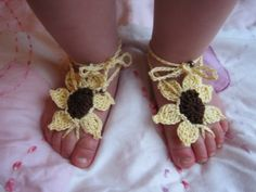 Barefoot Sandals Sunflower  Newborn to by ForgetMeKnotsCrochet, $10.00      kids, children, photography, spring, easter, crochet, fashion, summer, shoes, barefoot sandals, baby girl