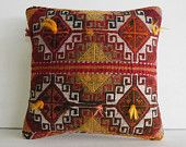 16x16 decorative pillow toss pillow cover turkish pillow case throw cushion cover red cream orange color striped pillow knitting pillow sham