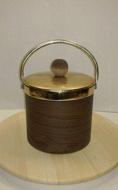 Vintage Mid Mod Faux Wood Ice Bucket Chrome Lid & Handle Wood Knob
