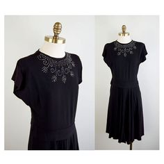 Black 1940s Party Dress with Silver Beading by winsomeandwayward, $50.00