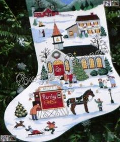 Wysocki Christmas Village Counted Cross Stitch Stocking Kit
